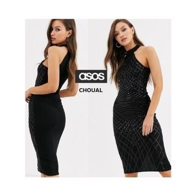 レディース 結婚式 二次会 ドレス ASOS / AX Paris ハイネックスパンコールミニドレス