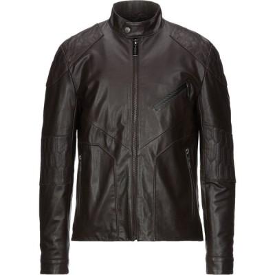 ランボルギーニ AUTOMOBILI LAMBORGHINI メンズ レザージャケット アウター Leather Jacket Dark brown