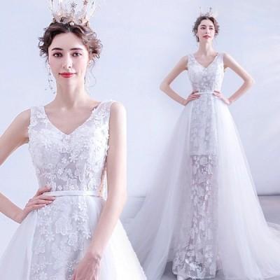 ウェディングドレス Vネック ノースリーブ トレーン ホワイトドレス 結婚式 花嫁 ブライダルドレス Aライン 優雅 エレガント 披露宴 二次会