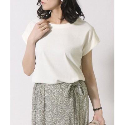 【コムサイズム】 テレコ フレンチスリーブTシャツ レディース ホワイト M COMME CA ISM