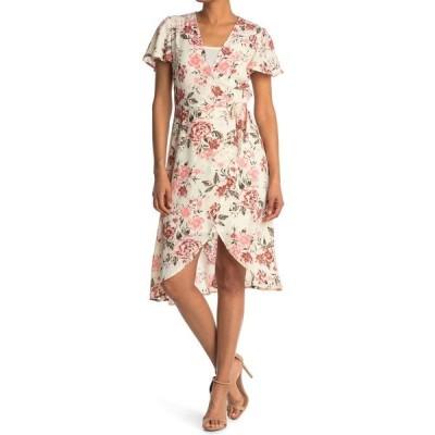 フォーティーンス プレイス レディース ワンピース トップス Short Sleeve Floral Wrap Dress TUSK FLORAL