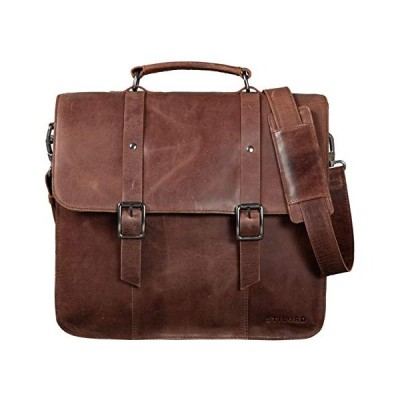 STILORD 'Fabrizio' Teacher Bag Leather 13,3 Inch Laptop Bag, Colour:Messina - Brown 並行輸入品