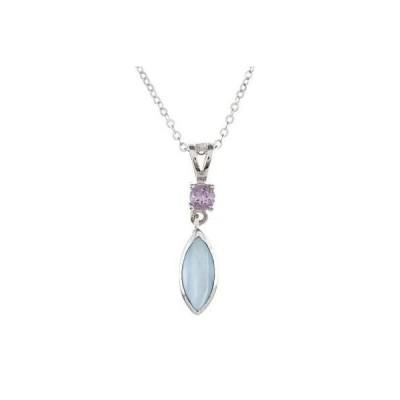 ラプレシオサ ジェムストーン La Preciosa Sterling Silver Blue MOP and Amethyst Marquise Necklace