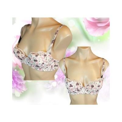 ピンク花柄プリントに胸元のフリルが可愛い鮮やかブラジャー 花柄ピンク D65 A15
