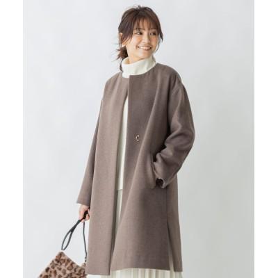 カシミヤブレンドノーカラー コート