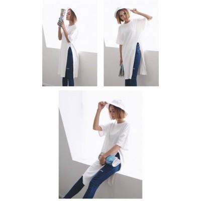 ワンピースシャツワンピロングTシャツブラウスレディース大きいサイズゆったりtシャツシンプル体型カバーファッション無地