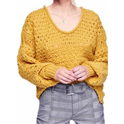 Free People フリーピープル ファッション トップス Free People NEW Yellow Womens Size Large L Open Knit V-Neck Sweater
