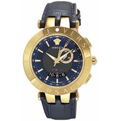 [ヴェルサーチ] 腕時計 V-RACE GMT ALARM ネイビー文字盤 29G70D282S282 並行輸入品 ブラック