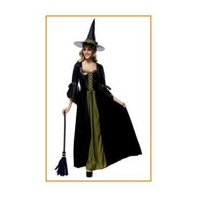 Toyobuy Halloween Nightclub Cosplay Party Costume Witch Dress Pointed Hat Green_並行輸入品