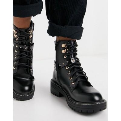リバーアイランド レディース ブーツ&レインブーツ シューズ River Island branded harness detail boots in black Black