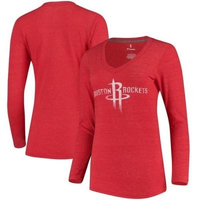 ファナティクス ブランデッド レディース Tシャツ トップス Houston Rockets Fanatics Branded Women's Distressed Logo Long Sleeve Tri-Blend T-Shirt