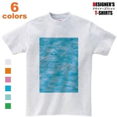 Tシャツ メンズ 青 英語 水 Water Liquid