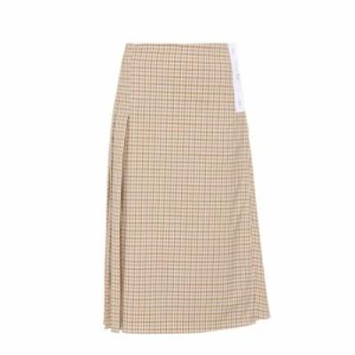 ヴィクトリア ベッカム Victoria Beckham レディース スカート Checked stretch wool skirt Taupe-Off White