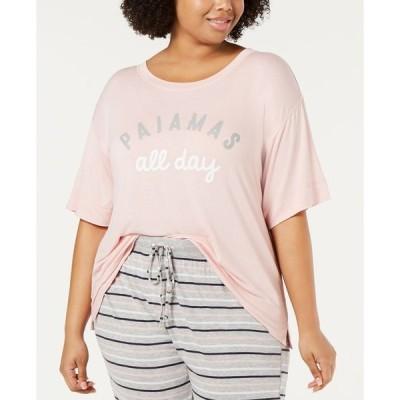 ジェニィ レディース シャツ トップス Plus-Size Ultra Soft Core Printed Short Sleeve Pajama Shirt