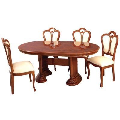 ダイニングセット イタリア製 サルタレッリモビリ フローレンスコレクション 175巾テーブル(ブラウン)+椅子(ブラウン/ベージュ)4脚 5点セット