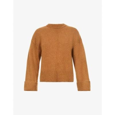 フレーム FRAME レディース ニット・セーター トップス Leon round-neck wool-blend jumper CAMEL