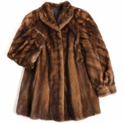 美品▼SAGA MINK サガミンク 裏地花柄刺繍入り 本毛皮コート ブラウン 毛質艶やか・柔らか◎