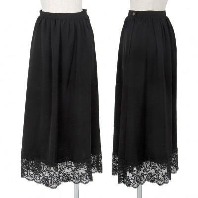 トリココムデギャルソンtricot COMME des GARCONS 裾レース切替スカート 黒S 【レディース】