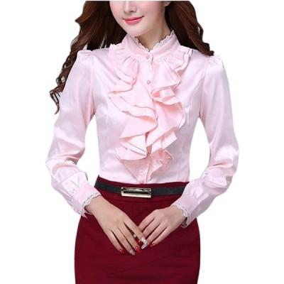 [ルナー ベリー] ブラウス 立ち襟 フリル エレガント シャツ 長袖 フォーマル レディース 3804 (M, ピンク) 胸元フリル ゆったり フェ