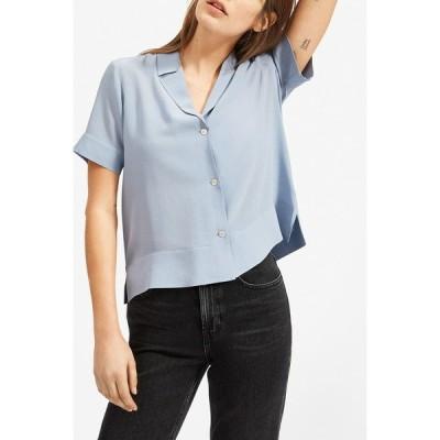 エバーレーン レディース シャツ トップス The Clean Silk Short Sleeve Notch Shirt ATLANTIC BLUE