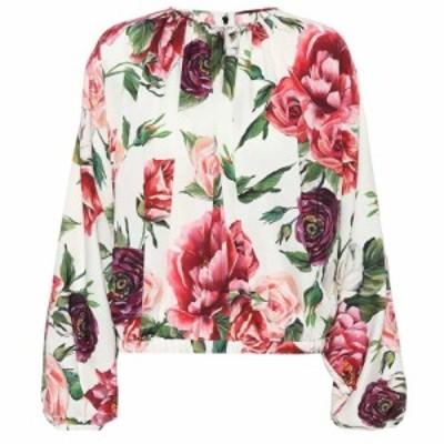 ドルチェandガッバーナ Dolce and Gabbana レディース ブラウス・シャツ トップス floral-printed silk blouse Peonie Panna