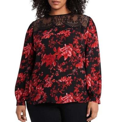 ヴィンスカムート レディース シャツ トップス Plus Size Long Sleeve Lace Yoke Floral Print Blouse Rich Black
