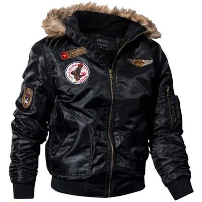 smartes メンズ ミリタリー ジャケット 裏起毛 アーミー フード付き アウター ブルゾン フード付き 防風 防寒 ジャンパー 大きいサイズ M