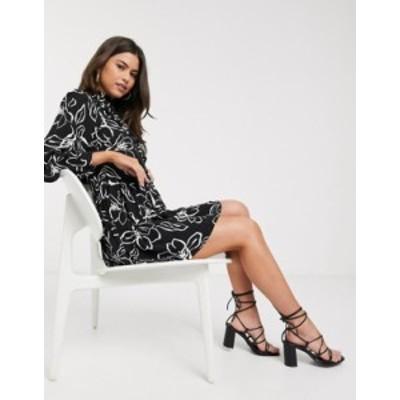 リバーアイランド レディース ワンピース トップス River Island sketchy floral smock dress in black Black print