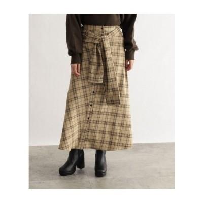 OZOC(オゾック)[洗える]チェック切替スカート