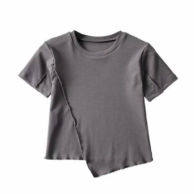4.17✨🍒JULYEI🍒💛 欧米風💛spring new arrivals❤不規則なスリット半袖Tシャツハイウエストラウンドネックやさしくシンプルな半袖ブラウス