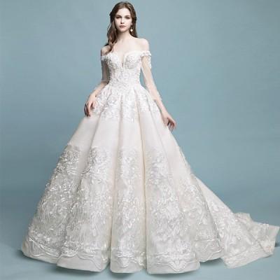 ウェディグドレス 長袖 結婚式 花嫁 二次会 プリンセスラインドレス ドレス パーティードレス ロングドレス 海外挙式 大きいサイズ 前撮り トレーン