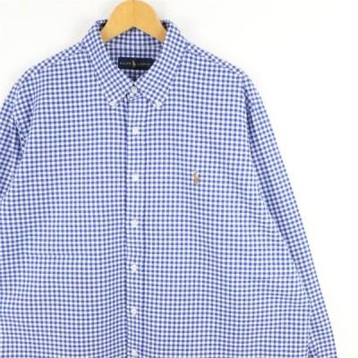 古着 大きいサイズ ラルフローレン 長袖ボタンダウンシャツ メンズUS-2XLサイズ ギンガムチェック柄 青 ブルー系 tn-0524n