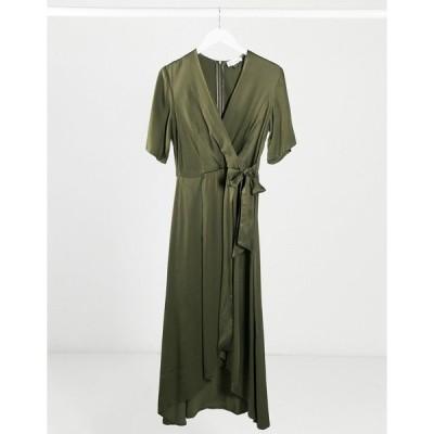 クローゼットロンドン レディース ワンピース トップス Closet satin pleated midi wrap dress in khaki Dark khaki
