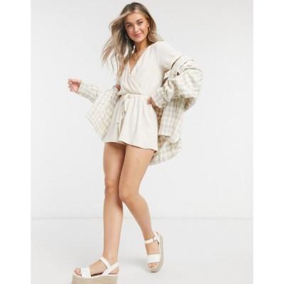 インザスタイル レディース ワンピース トップス In The Style x Billie Faiers loungewear elasticated detail romper in ecru Ecru