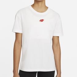 NIKE NSW 女裝 短袖 休閒 純棉 嘴唇 刺繡 白 DB9819-100