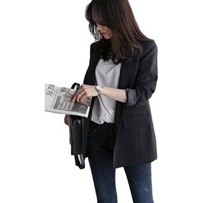 Gergeousレディース ジャケット ゆったり 事務服 無地 スーツ アウター 韓国ファッション ブレザー通勤ジャケット(s2012250276)