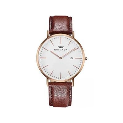 特別価格BRIGADA Women's Watch Nice Fashion Elegant Rose Gold Brown Leather Band Lad好評販売中