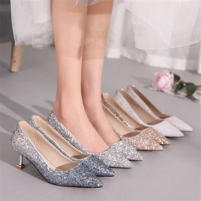 パンプス ポインテッドトゥ シューズ ヒール5cm レディース お呼ばれ 細ヒール 大きいサイズ ハイヒール 走れる 婦人靴 痛くない 結婚式 グリッター