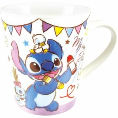 スティッチ 陶器製 マグカップ ハピネスタイム スリム マグ ディズニー ギフトマグ キャラクター グッズ
