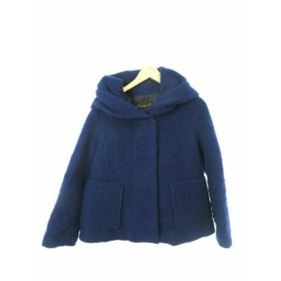 【中古】ブロードゥリー&コー Broderie&Co ナノユニバース コート ショート フード ウール 36 青 ブルー /YT45 レディース