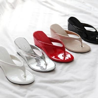 サンダル ウェッジヒール トング レディース ローヒール 黒 白 銀 赤 ブラック ホワイト ベージュ シルバー レッド 婦人靴 靴 歩きやすい 痛くない