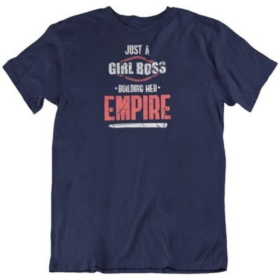 ガールズ 衣類 トップス Girl Boss Building Empire T-Shirt Gift for Boss Lady and Women (Distressed) Silver Tシャツ