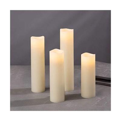 海外限定 Flameless Candle Set, 2 Inch Diameter - Battery Operated, 4 Pack, Slim Pillar Candles, Flickering LED, Holiday Decor, Gift Ivor