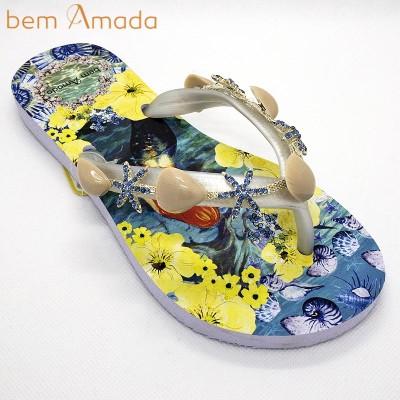 ■50%OFF■【bem Amada】ビジュー付きビーチサンダル 【マーメイドB】 ホワイト(Mサイズ)
