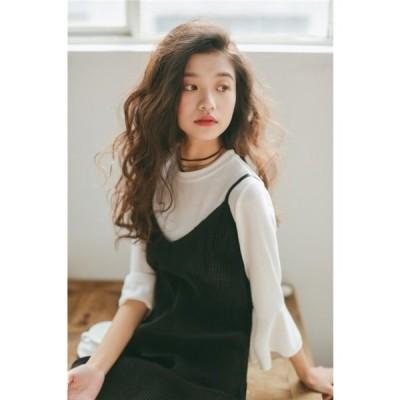 ドレス Vネックノースリーブドレス 膝丈 縦模様 楽にカジュアルに 堅すぎないデートにも 冬 ワンピース 韓国