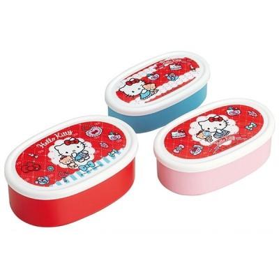 ハローキティ おしゃれガール 抗菌食洗機対応シール容器 3Pセット