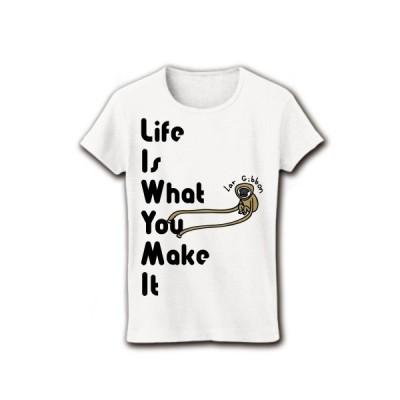 長い長いシロテテナガザル リブクルーネックTシャツ(ホワイト)