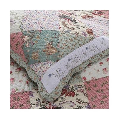 Cozy Line Home Fashions Celia Floral Real Patchwork Cotton Quilted King Shams(Celia Sham, King Sham(Set of 2))