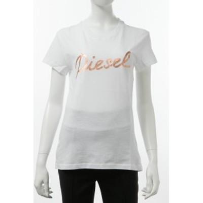 ディーゼル DIESEL Tシャツ 半袖 丸首 クルーネック ホワイト レディース (00SYV8 R0CZJ)