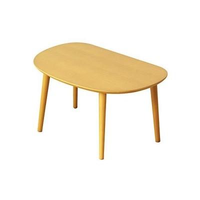岩附 ローテーブル ミニ 木製 キッズ 子供用 オーバル 楕円 幅60×奥行40×高さ32cm ナチュラル IW-3010NA